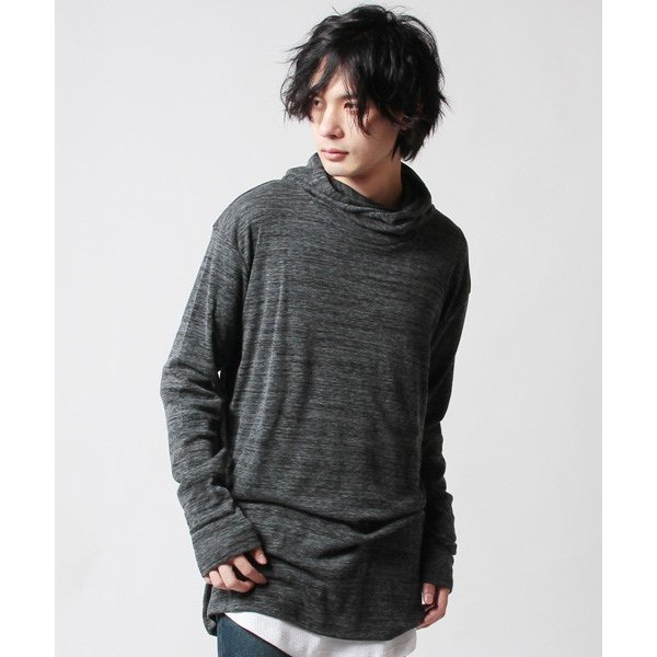 AB杢 ルーズネック パーカー ロング丈 メンズ soyous 03