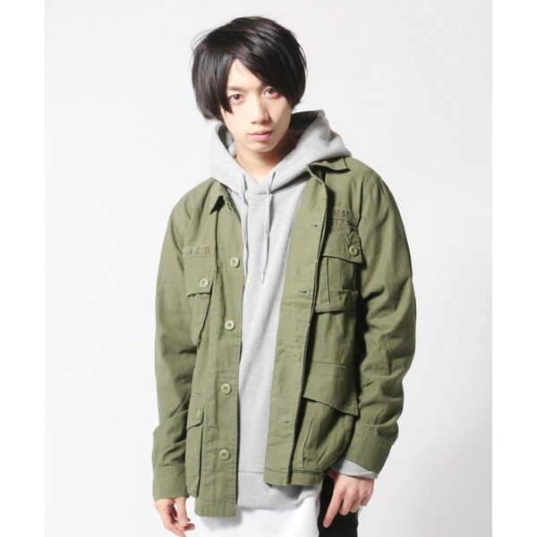 ミリタリー ジャケット メンズ ワッペン付き サファリジャケット|soyous|02