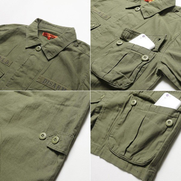 ミリタリー ジャケット メンズ ワッペン付き サファリジャケット|soyous|06