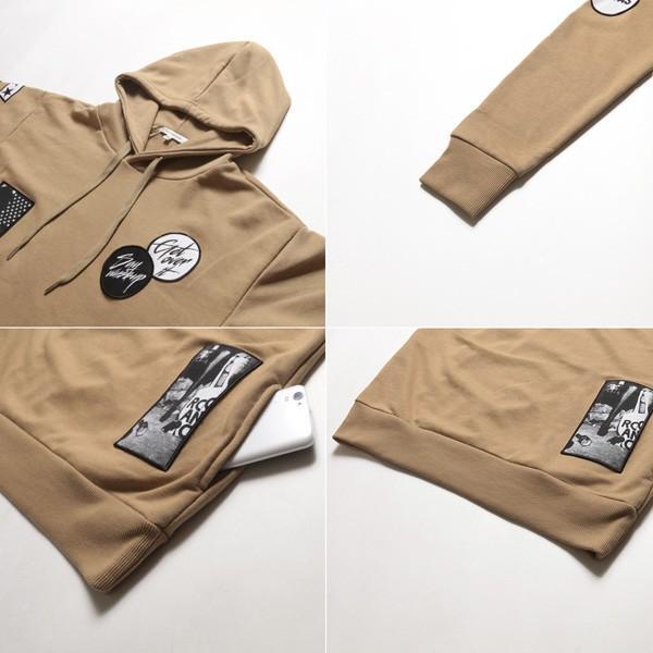 ワッペン付きプルパーカー プルオーバーパーカ 裏毛 長袖 メンズ|soyous|06