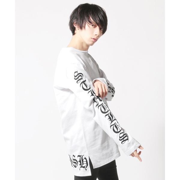 袖プリント ロング丈Tシャツ ビッグシルエット トップス メンズ|soyous|02