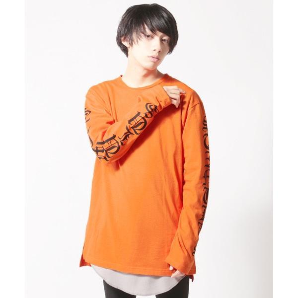 袖プリント ロング丈Tシャツ ビッグシルエット トップス メンズ|soyous|04
