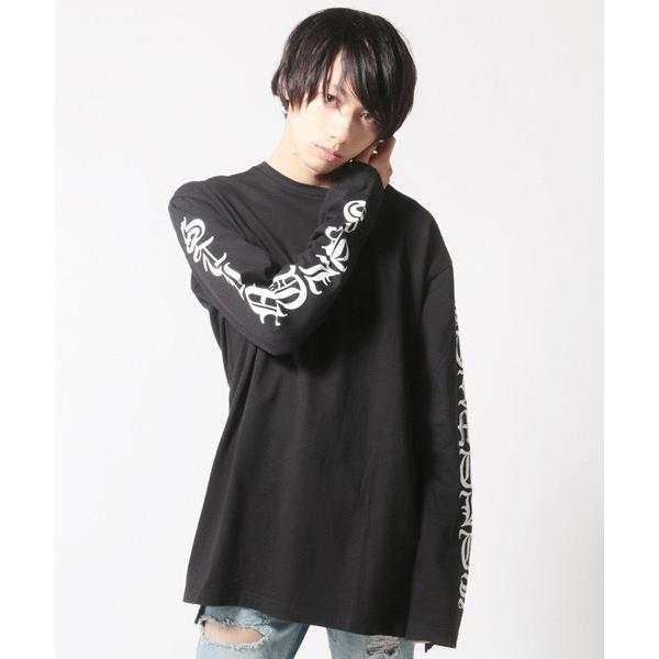 袖プリント ロング丈Tシャツ ビッグシルエット トップス メンズ|soyous|05
