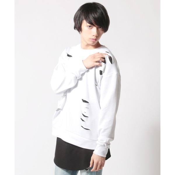 アンサンブル ダメージ 裏毛 トレーナー ロングTシャツ カットソー|soyous|02