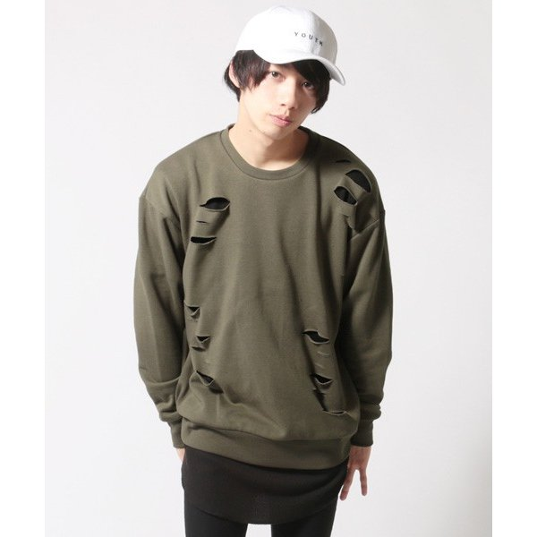 アンサンブル ダメージ 裏毛 トレーナー ロングTシャツ カットソー|soyous|03