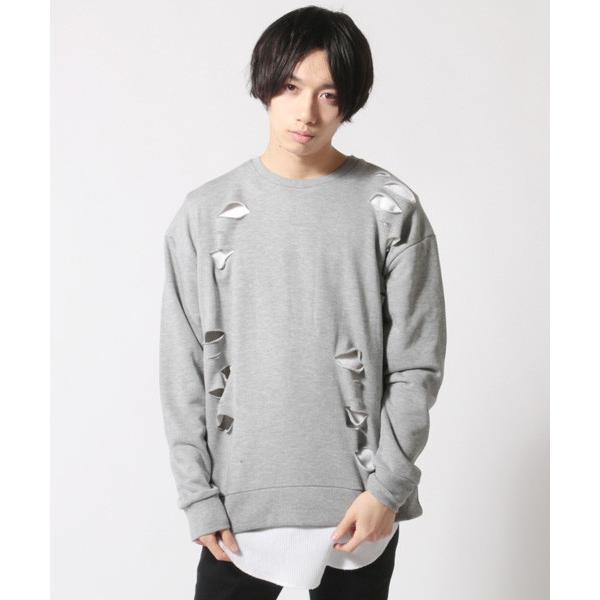 アンサンブル ダメージ 裏毛 トレーナー ロングTシャツ カットソー|soyous|04