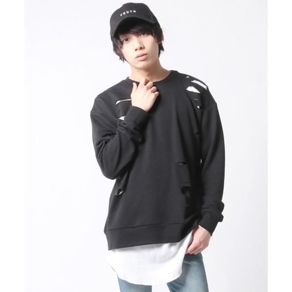 アンサンブル ダメージ 裏毛 トレーナー ロングTシャツ カットソー|soyous|05