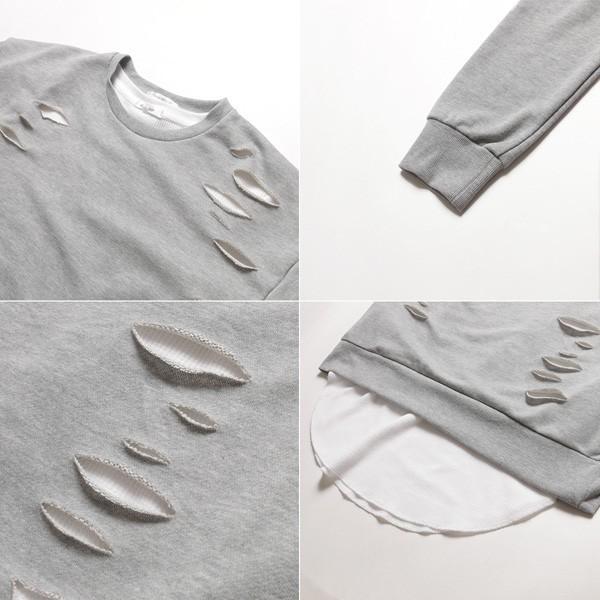 アンサンブル ダメージ 裏毛 トレーナー ロングTシャツ カットソー|soyous|06
