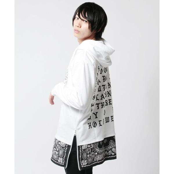 裾切り替え ロング丈 プルパーカー 裏毛 メンズ|soyous|04