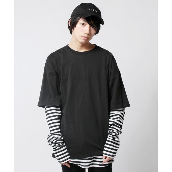 アンサンブル 半袖Tシャツ 長袖ボーダーカットソー ビッグシルエット メンズ|soyous|02