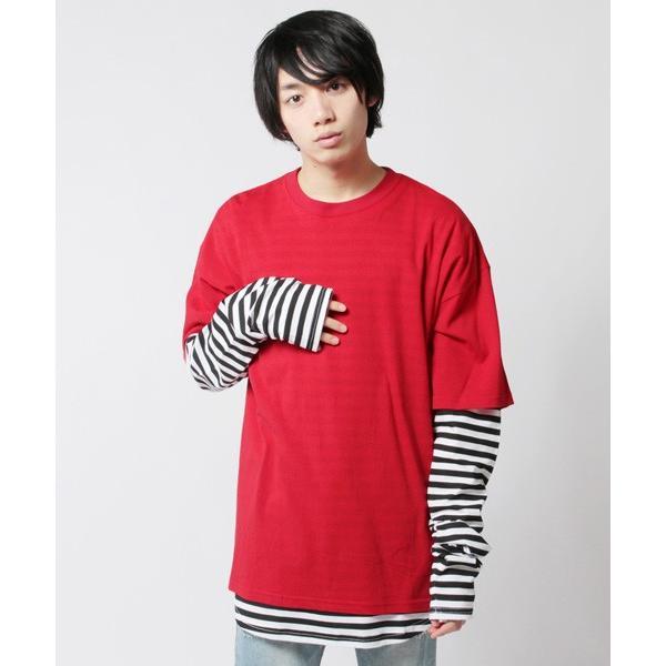 アンサンブル 半袖Tシャツ 長袖ボーダーカットソー ビッグシルエット メンズ|soyous|03
