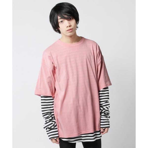 アンサンブル 半袖Tシャツ 長袖ボーダーカットソー ビッグシルエット メンズ|soyous|04
