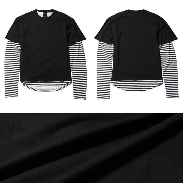 アンサンブル 半袖Tシャツ 長袖ボーダーカットソー ビッグシルエット メンズ|soyous|05