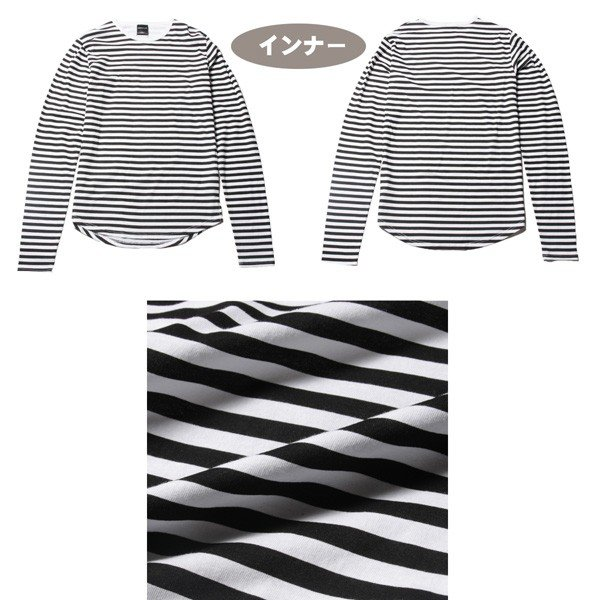 アンサンブル 半袖Tシャツ 長袖ボーダーカットソー ビッグシルエット メンズ|soyous|06