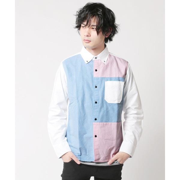 アンサンブル オックスシャツ ボタンダウン 長袖シャツ 切り替え 半袖ボーダー Tシャツ メンズ|soyous|03