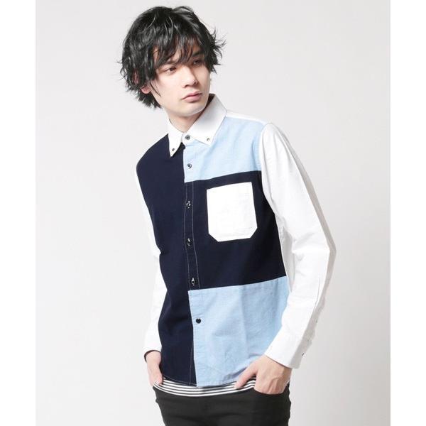 アンサンブル オックスシャツ ボタンダウン 長袖シャツ 切り替え 半袖ボーダー Tシャツ メンズ|soyous|04