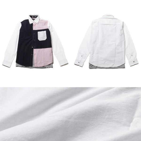 アンサンブル オックスシャツ ボタンダウン 長袖シャツ 切り替え 半袖ボーダー Tシャツ メンズ|soyous|05