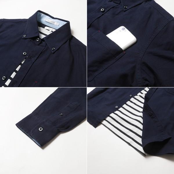 アンサンブル オックスシャツ ボタンダウン 長袖シャツ 半袖ボーダー Tシャツ メンズ|soyous|06