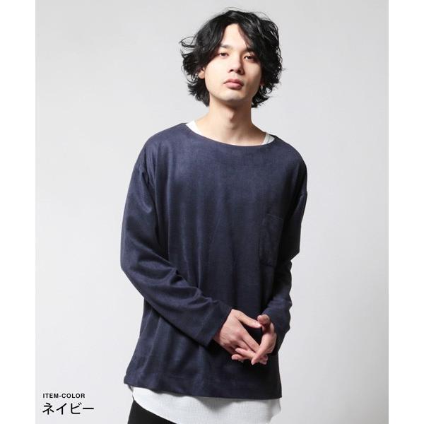 フェイク スウェード オーバー サイズ ポケット Tシャツ カットソー メンズ|soyous|03