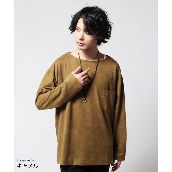 フェイク スウェード オーバー サイズ ポケット Tシャツ カットソー メンズ|soyous|04