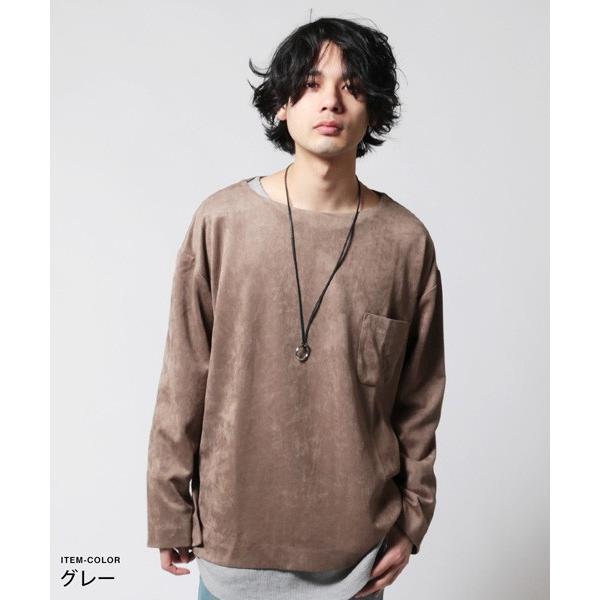 フェイク スウェード オーバー サイズ ポケット Tシャツ カットソー メンズ|soyous|05