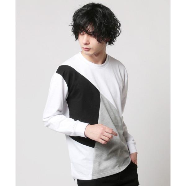 ミニ裏毛 切り替え デザイン クルーネック トレーナー メンズ|soyous|02