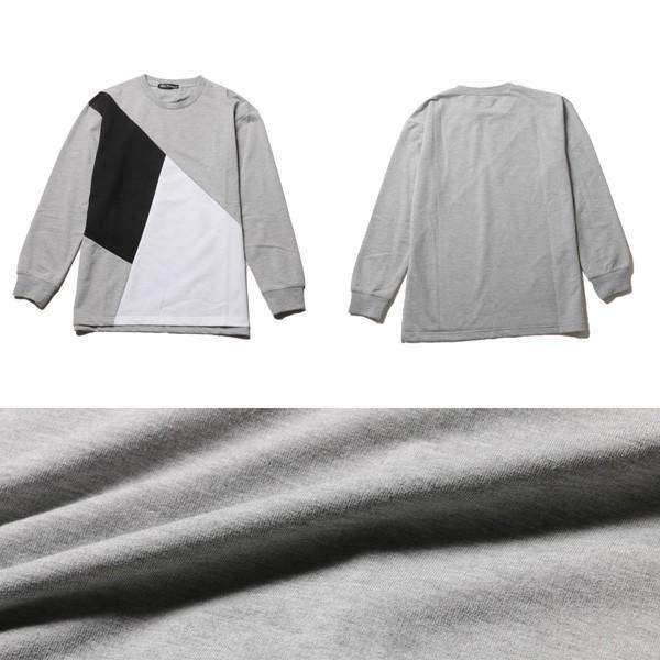 ミニ裏毛 切り替え デザイン クルーネック トレーナー メンズ|soyous|05