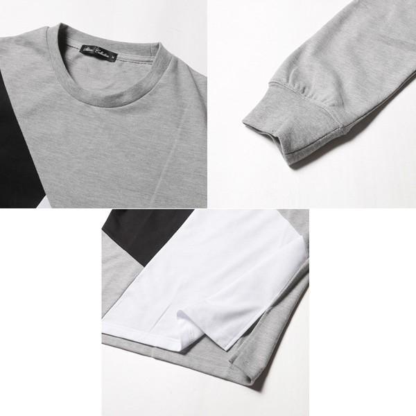 ミニ裏毛 切り替え デザイン クルーネック トレーナー メンズ|soyous|06