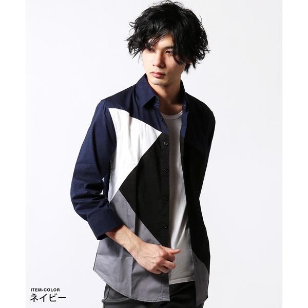 7分袖 シャツ メンズ 切り替え デザイン soyous 02