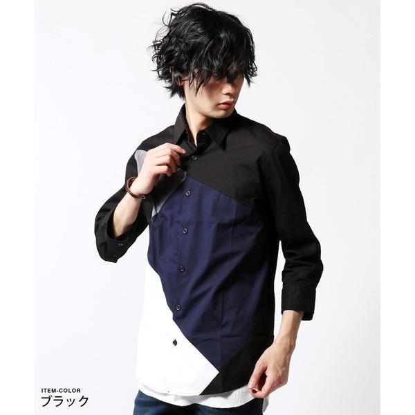 7分袖 シャツ メンズ 切り替え デザイン soyous 03