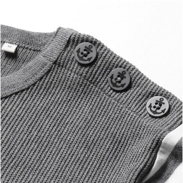肩ボタン ニット 切り替え クルーネック 半袖 Tシャツ メンズ|soyous|06
