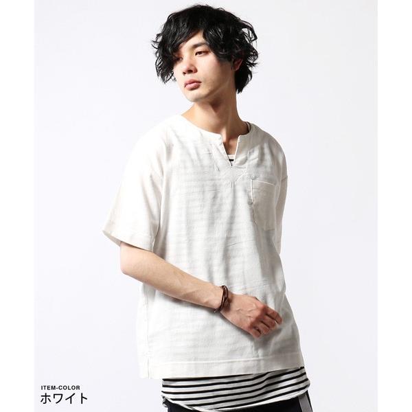 綿麻 パナマ キーネック 半袖 Tシャツ タンクトップ アンサンブル メンズ|soyous|02