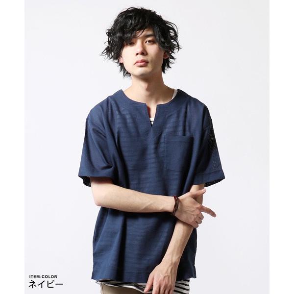 綿麻 パナマ キーネック 半袖 Tシャツ タンクトップ アンサンブル メンズ|soyous|03