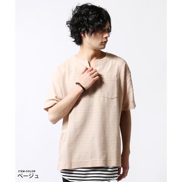 綿麻 パナマ キーネック 半袖 Tシャツ タンクトップ アンサンブル メンズ|soyous|04