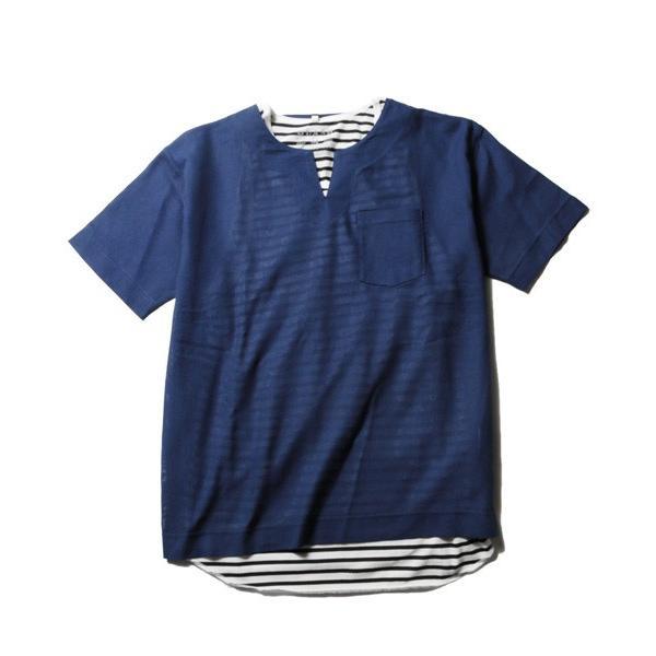 綿麻 パナマ キーネック 半袖 Tシャツ タンクトップ アンサンブル メンズ|soyous|05