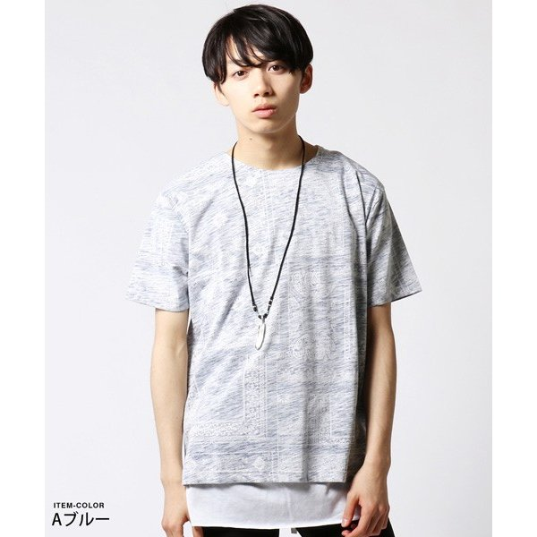 裏総柄 Tシャツ ロング タンクトップ アンサンブル メンズ ネックレス付き|soyous|02