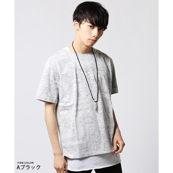 裏総柄 Tシャツ ロング タンクトップ アンサンブル メンズ ネックレス付き|soyous|03