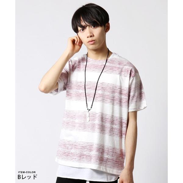 裏総柄 Tシャツ ロング タンクトップ アンサンブル メンズ ネックレス付き|soyous|04