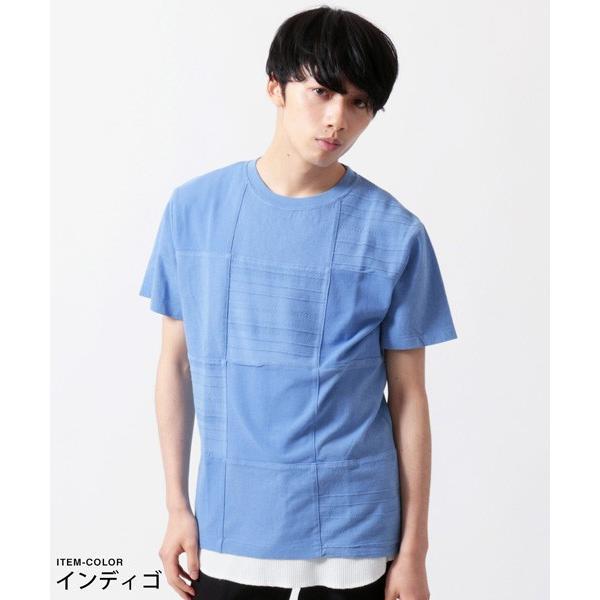 パネル 切り替え ピグメント 染め 半袖 Tシャツ メンズ|soyous|04