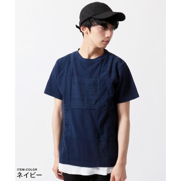 パネル 切り替え ピグメント 染め 半袖 Tシャツ メンズ|soyous|05