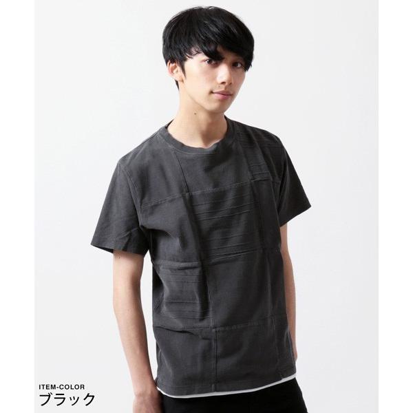 パネル 切り替え ピグメント 染め 半袖 Tシャツ メンズ|soyous|06