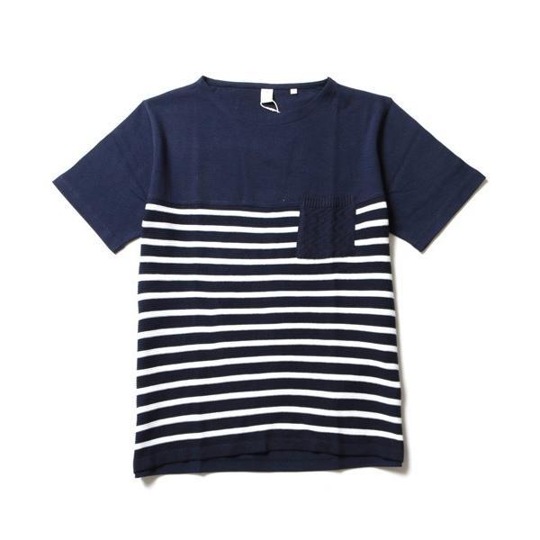 ニット 切り替え ボートネック 半袖 Tシャツ メンズ|soyous|05