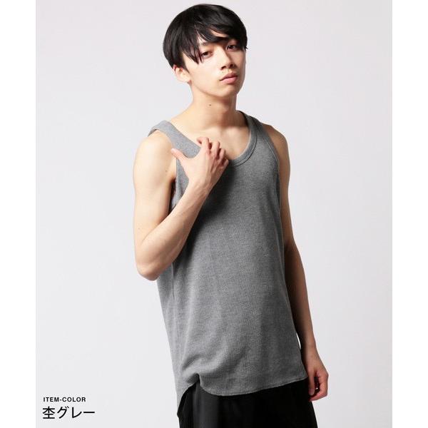 ワッフル ロング タンク メンズ|soyous|05