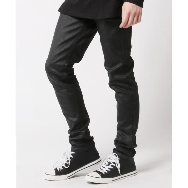 コーティング ブラック パンツ メンズ ストレッチ|soyous|02