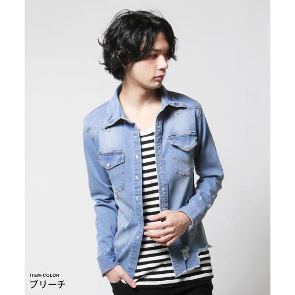 カットオフ 長袖 ダメージ デニム シャツ メンズ|soyous|02
