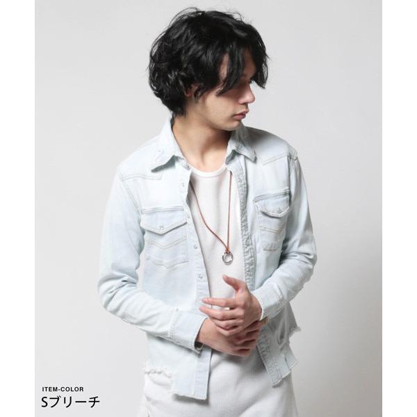 カットオフ 長袖 ダメージ デニム シャツ メンズ|soyous|03