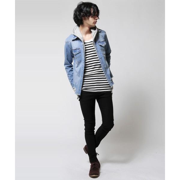 カットオフ 長袖 ダメージ デニム シャツ メンズ|soyous|05