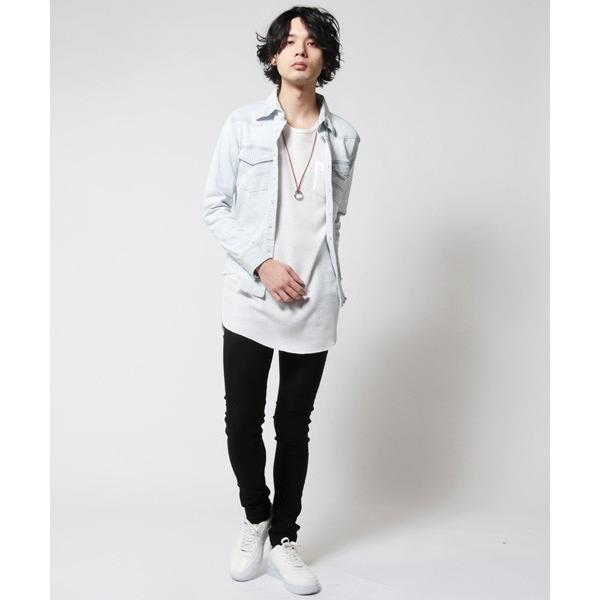 カットオフ 長袖 ダメージ デニム シャツ メンズ|soyous|06