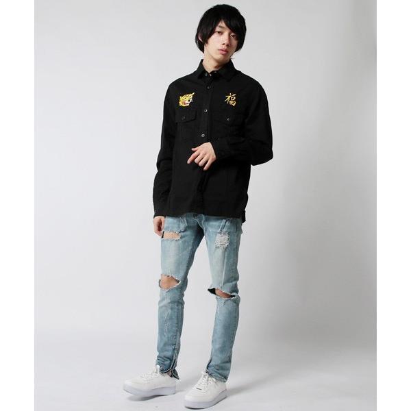ツイル ミリタリー 長袖 トラ刺繍 スカ シャツ メンズ|soyous|04
