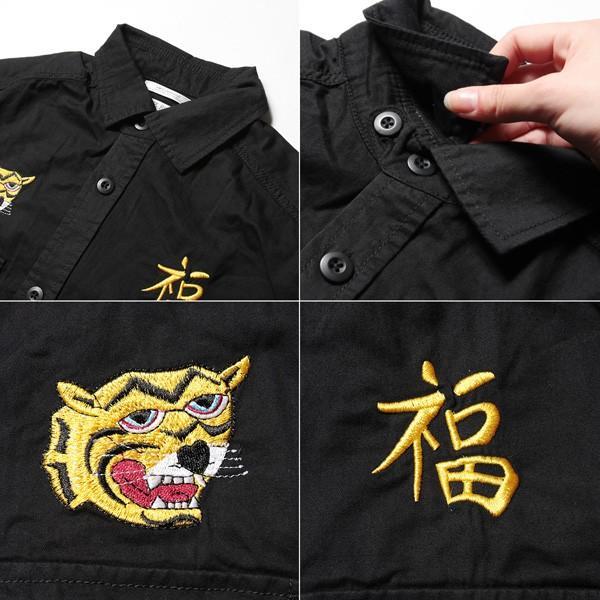 ツイル ミリタリー 長袖 トラ刺繍 スカ シャツ メンズ|soyous|06